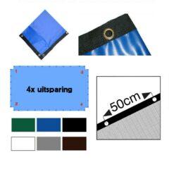 PVC afdekzeil op maat gemaakt met 4 uitsparingen