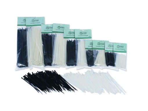 Tie-rips, tie-wraps, kabelbinders, 120x4.6mm, wit, 100 stuks
